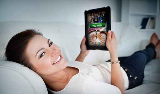 Girl Playing casino online