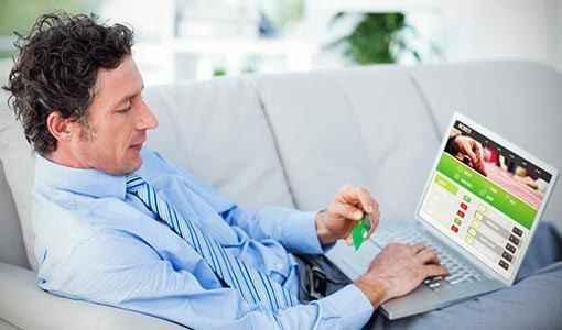 Man playing slots online