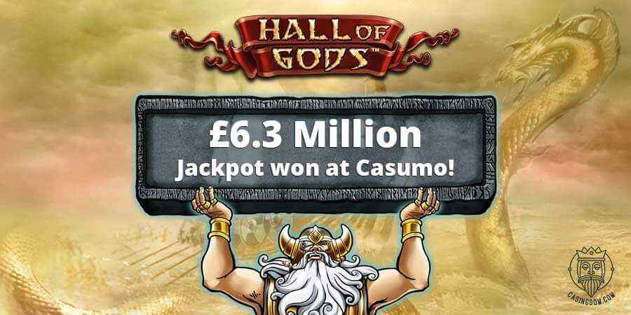Hall of Gods £6.3 Million Jackpot Won at Casumo Casino!