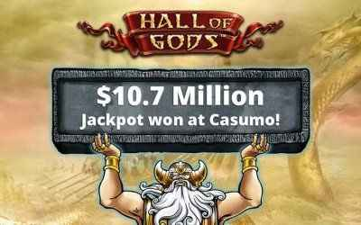 Hall of Gods $10.7 Million Jackpot Won at Casumo Casino!